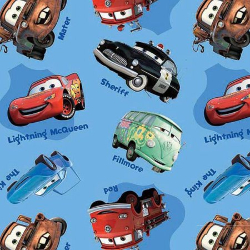 "1.4yd x 44"" Cars on Blue - WOVEN fabric"