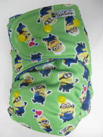 Green Minions POLY (imported) /w blue organic bamboo velour - T&T multi-size