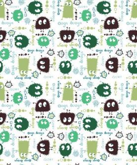 """2.4yd x 60"""" Green Ooga Booga - PUL fabric"""