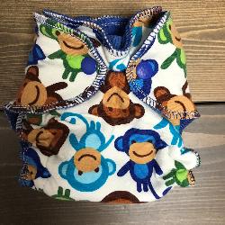 Monkeys /w blue cotton velour - newborn