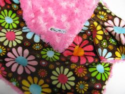 Fuschia /w chocolate flower child minky - 'Lankie - Regular $20