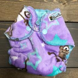 Monkey Star Minky /w aqua cotton velour - newborn