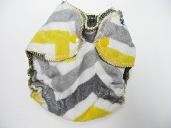 Lemon Zig Zag Minky /w charcoal cotton velour - newborn