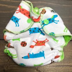 Weiner Dogs /w lime cotton velour - newborn