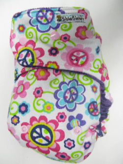 Peace Signs /w purple organic bamboo velour - T&T multi-size