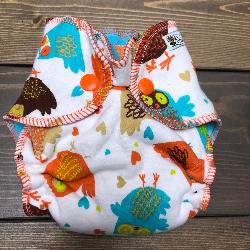 Retro Owls /w turquoise & orange cotton velour - newborn