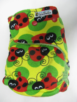 Ladybugs /w green organic bamboo velour - T&T multi-size