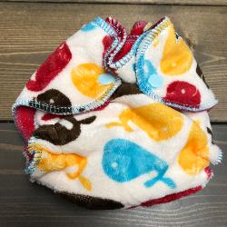 Whales /w red cotton velour- newborn