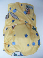 Yellow Aliens /w blue cotton velour soakers - PUL Ai2