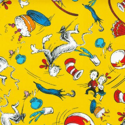 "52x60"" Yellow Seuss Toss - MINKY fabric"