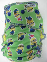 Green Minions POLY (imported) /w yellow organic bamboo velour - serged multi-size