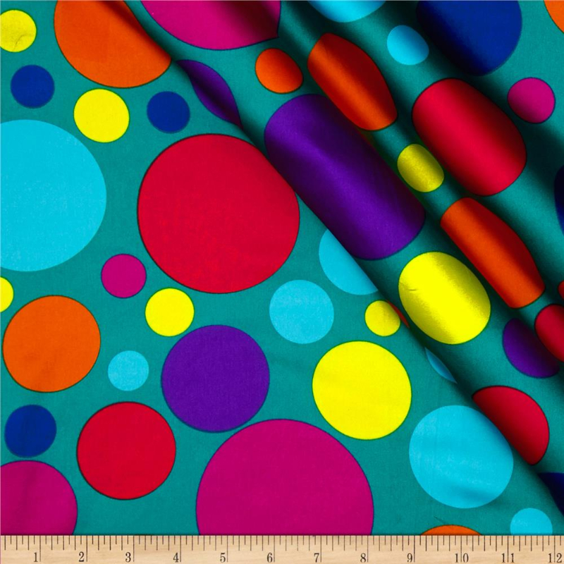 4.25yd piece of Teal Large Dots - SATIN fabric