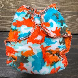 Dino Camo Cotton Velour /w orange cotton velour - newborn
