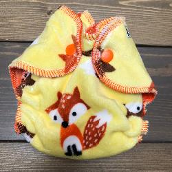 Yellow Fox Minky /w orange organic bamboo velour - newborn