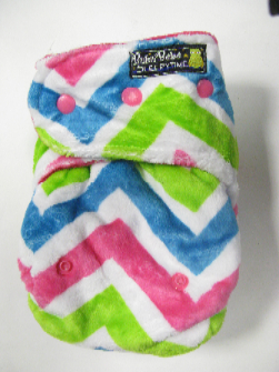 Pink & Lime Chevron Minky /w pink cotton velour - T&T Sleepytime