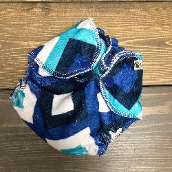 Geo Minky /w blue cotton velour - newborn