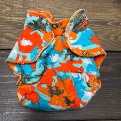 Dino Camo /w orange cotton velour - newborn