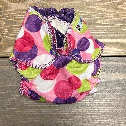 Pink Dot Minky /w purple organic bamboo velour - newborn