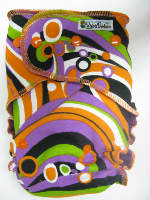 Swirl /w plum cotton velour - serged multi-size