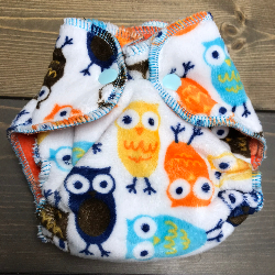 Owls Minky /w orange organic bamboo velour - newborn