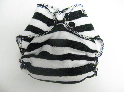 Dalmation Stripe /w white cotton velour - newborn