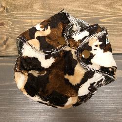 Horse Camo Minky /w chocolate organic bamboo velour - newborn