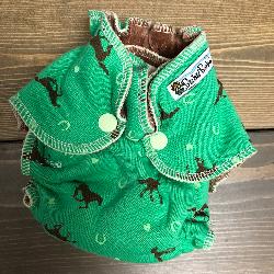 Green Horses /w chocolate organic bamboo velour - newborn