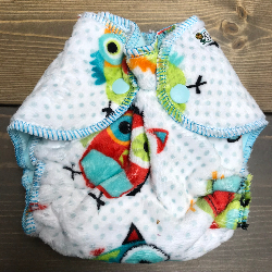 Hoo Minky /w aqua cotton velour - newborn