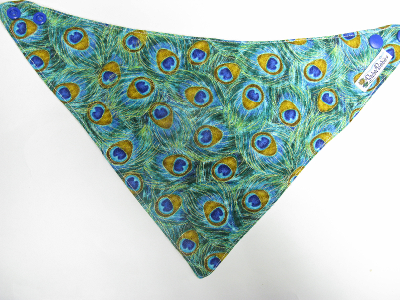 SALE! Peacock Feathers - Bandana Dribble Bib