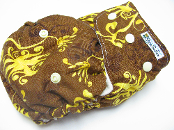 Milk Chocolate Rochelle /w lemon organic bamboo velour soakers - Designer Woven Hidden PUL Ai2