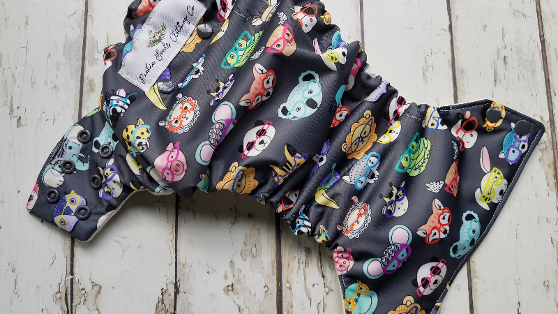 Organic Side Snap All in One Cloth Diaper Animal Faces AIO PUL Sized Made to Order