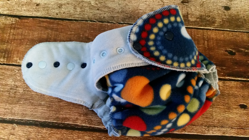 One Size All-Nighter Overnight Hybrid Fitted Windpro Cloth Diaper Circles and Dots Navy 10-35 lbs RT
