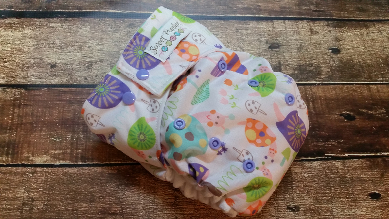 One Size Pocket Cloth Diaper Purple Snails 15-40 lbs