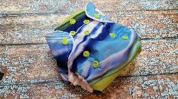 Organic Newborn AI2 Cloth Diaper Natural Cotton Blueberry Lime Swirl Made to Order