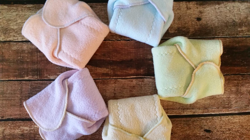 Sherpa Cotton Winged Prefold Cloth Diaper Sized Solid Colors 5 Pack
