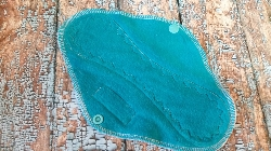 9 Inch Turquoise Cotton Velour Cloth Pad Light to Medium Flow
