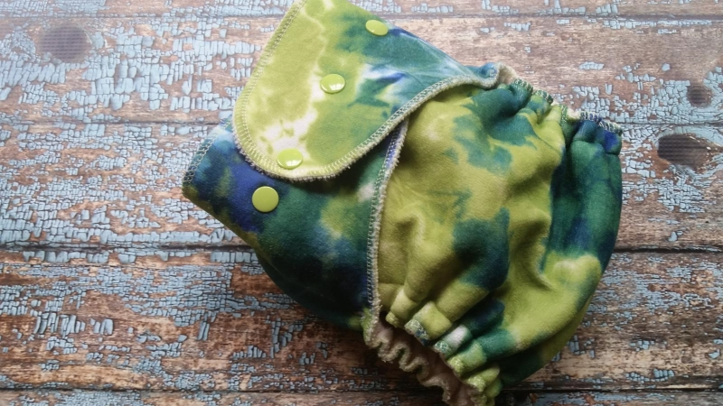 One Size Hybrid Fitted Cloth Diaper Blue and Green Velour Tie Dye