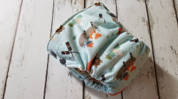 Organic Side Snap All in One Cloth Diaper Gone Fishing AIO PUL Sized Made to Order
