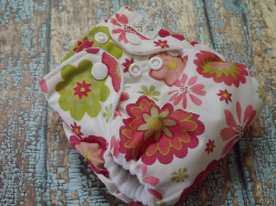 Organic Newborn AI2 Cloth Diaper Natural Cotton Dahlias Made to Order