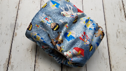 Organic Side Snap All in One Cloth Diaper Knights AIO PUL Sized Made to Order