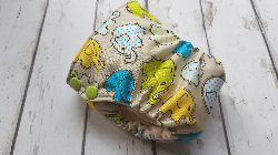 Organic Side Snap All in One Cloth Diaper Elephant Walk AIO PUL Sized Made to Order