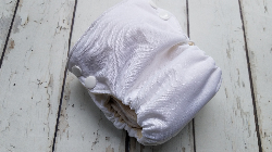 Organic Side Snap All in One Cloth Diaper White AIO PUL Sized Made to Order