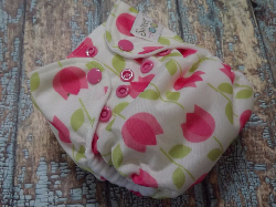 Organic Newborn AI2 Cloth Diaper Natural Cotton Pink Tulips Made to Order