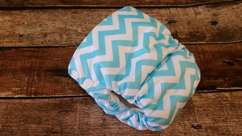 Organic Side Snap All in One Cloth Diaper Aqua Chevron