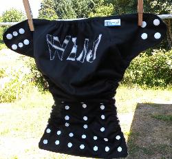Wild Zebra Black and White Applique One Size Pocket Diaper