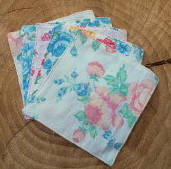 6 Willow Wipes Family Cloth & Baby Wipes in Blue Floral Terry