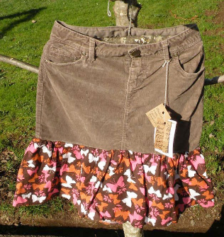 Girls Patchy Spinner Skirt Play Skirt, size 7-8 Brown corduroy, Butterfly,