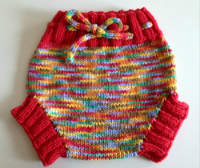 Hand Knit Large Rainbow Wool Soaker, Diaper Cover and Photography Prop