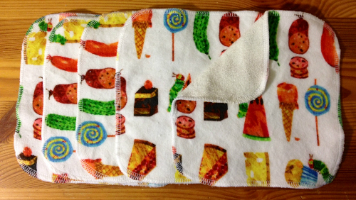 Hungry Caterpillar Inspired Flannel and Bamboo Terry Loop Cloth Wipes