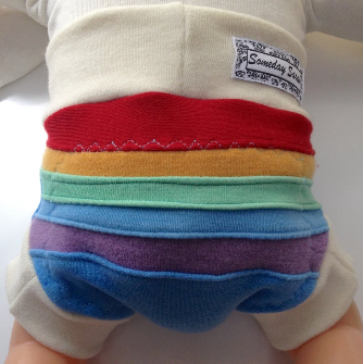 3-6+ months - Wool Diaper Cover - Hand dyed Rainbow Scrappy Wool Interlock Diaper Soaker - Small